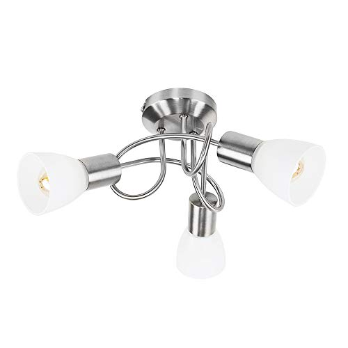 MiniSun - Moderne und spiralförmige Deckenleuchte mit einem gebürsteten verchromten Finish und Lampenschirmen aus Milchglas - 3er -