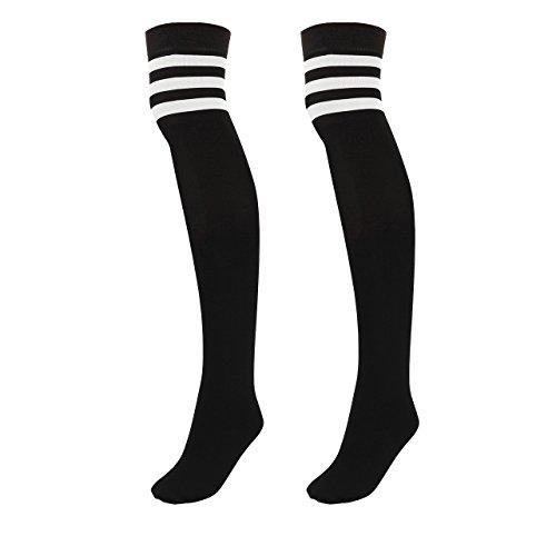 Fashion Kostüm College - CHIC DIARY Damen Mädchen Kinder wärmer Strümpfe Overknee Kniestrümpfe gestreifte Sportsocken College Socks Baumwollstrümpfe,63cm, Weiß Streifen auf Schwarz, Einheitsgröße