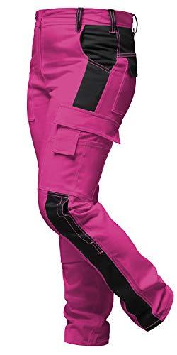 strongAnt® - Damen Arbeitshose komplett Stretch für Frauen Bundhose mit Kniepolstertaschen. Reißverschluss YKK + Metallknopf YKK - Made in EU - Pink-Schwarz 38