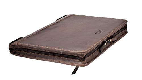 Menzo Schreibmappe aus echten Leder, Konferenzmappe, A4 Dokumentenmappe (Marrone)