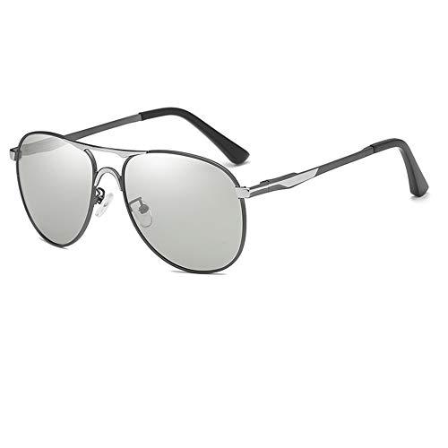 ZSHHG Tag Und Nacht Polarisierte Gläser Mit Doppeltem Verwendungszweck, Die Sonnenbrillen Fahren Gun Color Frame 144 * 141 * 52Mm