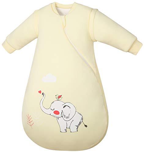 Chilsuessy Kinderschlafsack Baby Winterschlafsack Schlafsaecke aus GOTS Bio Baumwolle von Geburt bis 4 Jahre alt (M/Koerpergroesse 70-80cm, Gelber Elefant)
