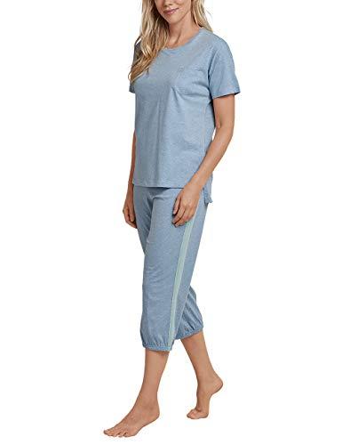 Schiesser Damen Anzug 3/4, 1/2 Arm Zweiteiliger Schlafanzug, Blau (Jeans-Mel. 831), 48 (Herstellergröße: 048) -
