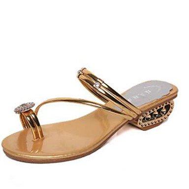LvYuan Da donna-Sandali-Tempo libero Casual-Comoda Anello per dita del piede-Basso-PU (Poliuretano)-Argento Dorato Gold