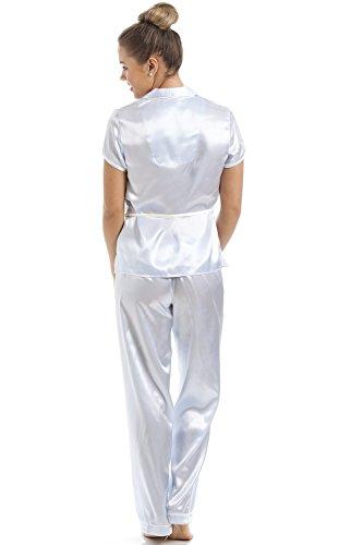 Camille - Ensemble de pyjama pour femme - manches courtes/ceinture - satin - bleu clair Bleu clair