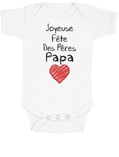 Green Turtle T-Shirts Joyeuse Fête des Pères, Papa adoré ! Body Bébé Manche Courte 6-12 Mois Blanc