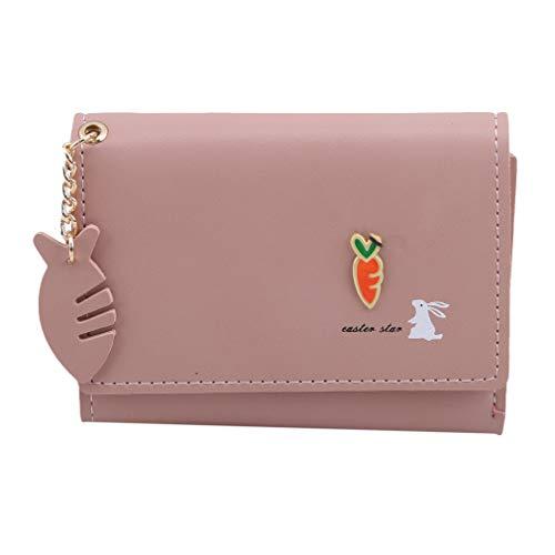 Pinhan Rabbit Carrot gedruckte Kurze dreifachgefaltete Brieftasche Einfache PU Leder Button Down Frauen Geldbörse mit Fischgräte Anhänger Dekoration, Hellrosa -