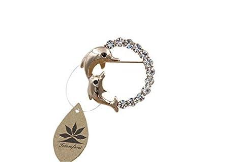totoroforet Fashion Jewelry Brosche Vintage Delphin mit Kristallen vergoldet (Kristall Frog Pin)