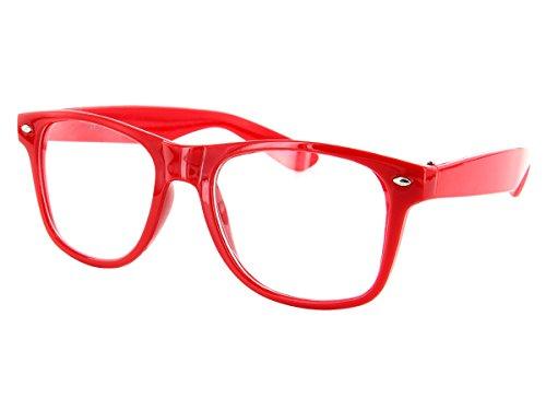 Alsino Streberbrille Nerd-Brille in rot, klare Gläser ohne Stärke V-816e