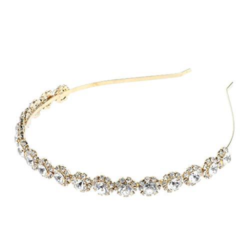 Baoblaze Damen Mädchen Haarband Stirnband Tiara Kristall Strass Haarreif Haarschmuck Kopfschmuck - Gold Bejeweled Damen