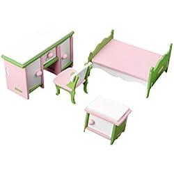 Set Muebles de Dormitorio Miniatura Madera Decoración para Casa de Muñecas