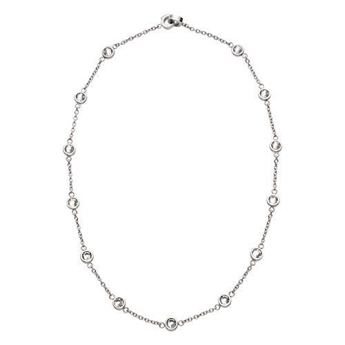 JEWELS BY LEONARDO DARLIN\'S Damen-Halskette Essenza klein klar, Edelstahl mit Kristallsteinen und Mini-Clip, CLIP & MIX System, Länge 450 mm, 016630