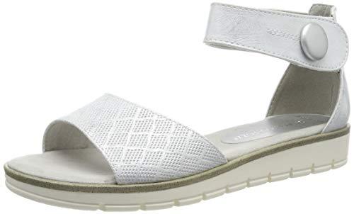 MARCO TOZZI 2-2-28118-22, Sandali con Cinturino alla Caviglia Donna, Bianco (White Metallic 151), 37 EU