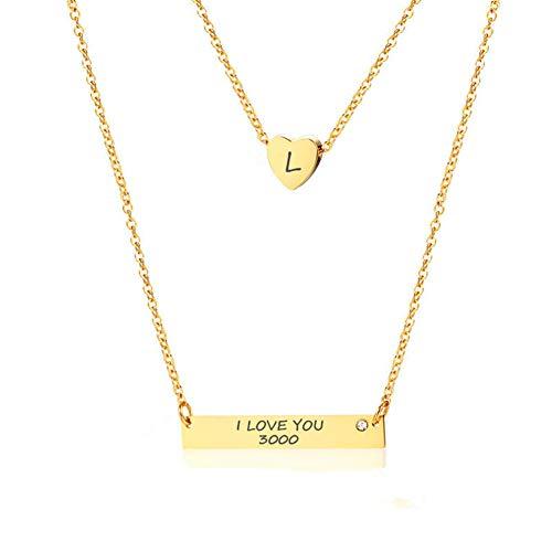 I Love You 3000 18 Karat vergoldet Initial Halskette Herz Bar Anhänger für Frauen Mädchen ()