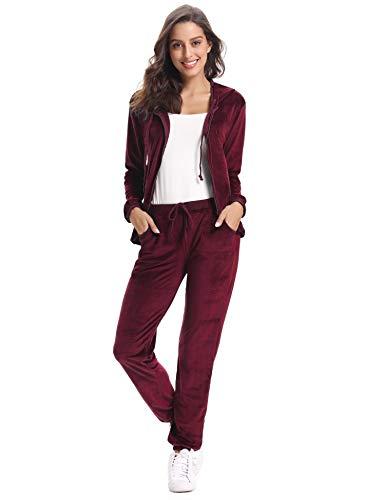Abollria Damen Hausanzug Velours Trainingsanzug mit Samtoptik Kapuzejacke mit Reißverschluss Hose mit Kordelzug und Taschen