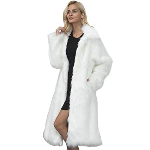 Serface Damen Pelzmantel Lang Luxus Kunst Winter Warmer Mantel Kunstpelz Lange Hülsen Outwear mit Tasche