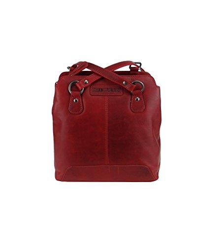 Handgefertigte Rote Tasche (Hill Burry Tasche Ledertasche,Vintage,Damen,Rucksacktasche handgefertigt rot)