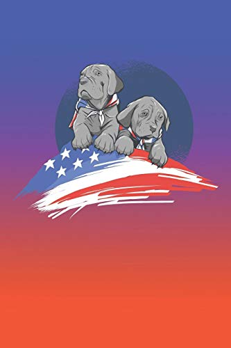 Notebook | Journal: American Dogs | American Dream | American Flag | American Puppies | 6x9 inches with 108 Pages Dot Grip (American Dream Flag)
