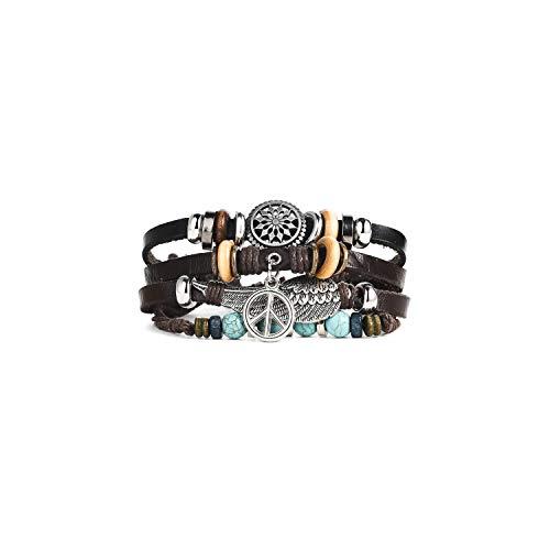 Pulsera Brazalete, Regalo De La Joyería,Handmade Boho Gypsy Hippie Brown Leather Bracelet Men Rope Cord Hand Turquoises Charm Stackable Wrap Bracelets For Women Jewelry B069