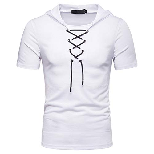 SABFASHION Sommer Mode Männer T-Shirt,2019 Neueste Modell BeiläUfige Mode Top mit Kapuze Kordelzug Kurzarmshirt - Gabbana Kordelzug