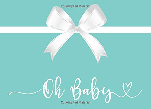 Oh Baby: Baby Shower Guestbook - Teal Blue with White Bow