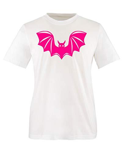 Comedy Shirts - Halloween Fledermaus - Mädchen T-Shirt - Weiss/Pink Gr. 152-164