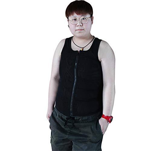 BaronHong Tomboy Trans Lesbian Mesh Reißverschluss Brust Binder Bauch Shapewear (schwarz, 5XL)