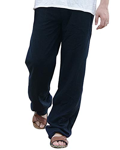 Pantalones Lino Hombre De Playa Comodos Transpirables Sueltos Color Sólido Negro 3XL
