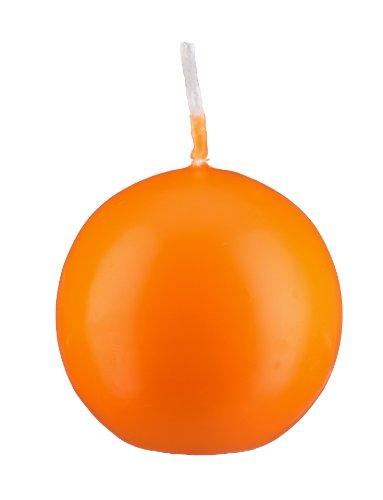 Bougie boule Orange 10 cm, 4 Bougies, Bougie Ronde