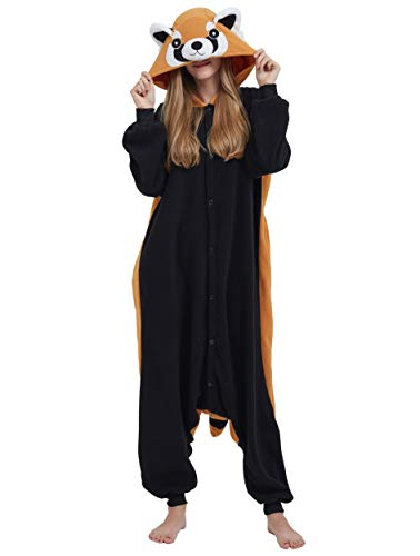 Jumpsuit Onesie Tier Karton Kigurumi Fasching Halloween Kostüm Lounge Sleepsuit Cosplay Overall Pyjama Schlafanzug Erwachsene Unisex Rot Panda for Höhe 140-187CM