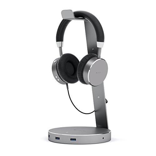 Satechi Soporte Sujeta Auriculares USB con Tres Puertos USB 3.0 y Puerto AUX de 3.5mm – Compatible con Auriculares de Todos los Tamaños (Gris Espacial)