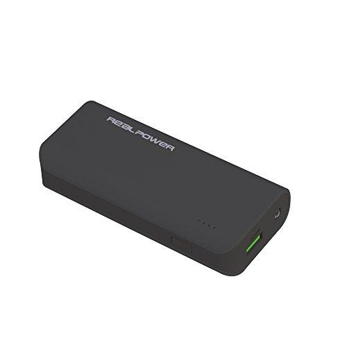 RealPower PB-4000 externer kompakter Akku Batterie Handy Ladegerät Powerbank 4000 mAh für iPhone, iPad, Samsung Galaxy und weitere Smartphones (schwarz)