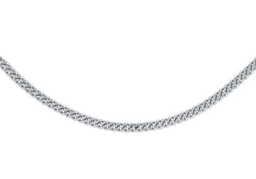 Carissima Gold Unisex 18 ct White Gold Diamond Cut Curb Chain of 51 cm/20 inch