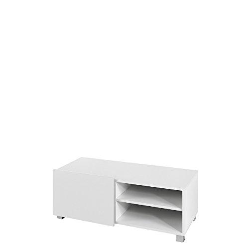 TV Board Lowboard Gordia G 1D, Fernsehschrank Fernsehtisch, 100x38x43 cm, TV-Tisch, TV Schrank, TV Bank, TV Möbel (Weiß / Weiß Matt + Weiß Hochglanz)