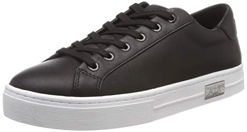 Armani Exchange Damen Cow Leather lace up Sneaker, Schwarz (Black + White A120), 38 EU