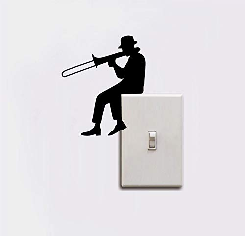 TNIEG Schalter Aufkleber männer Spielen Posaune Silhouette Lichter Papier Musik Kunst Vinyl wandaufkleber Musik Zimmer Schlafzimmer Dekoration 12 cm * 10,1 cm