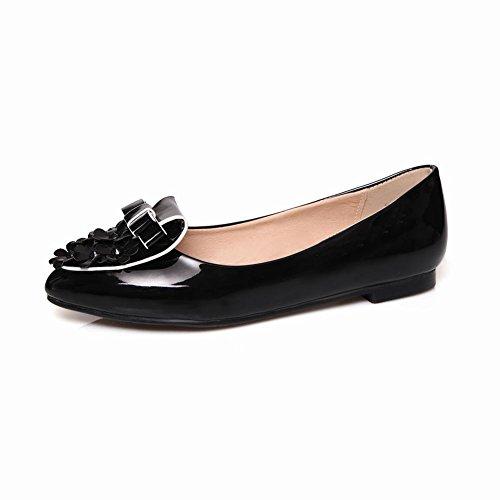 MissSaSa Damen flach Pointed Toe Schleife Low-cut Slipper mit Blume bequem und süß glitzer Lackleder Halbschuhe Schwarz