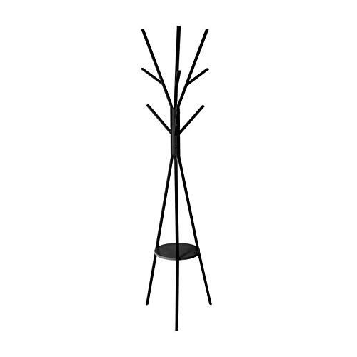 5Five Garderobenständer Kleiderständer Standgarderobe in Form eines Baumes 9 Haken, Metall, Schwarz, H: 180 cm