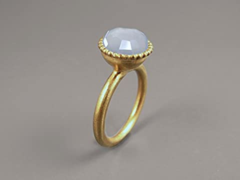 14K Yellow Gold Plated Ring Lavender Blue Chalcedony Gemstone Ring For Her Handmade Ring Custom Ring Statement Ring Solitaire Ring Unique Promise Ring Facet Round Large Stone Jewelry Gifts For