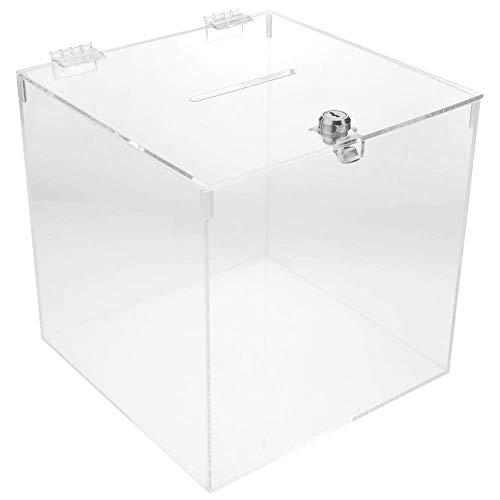 PrimeMatik - Urna Scatola in metacrilato Trasparente con Chiave di Sicurezza 20x20x20cm