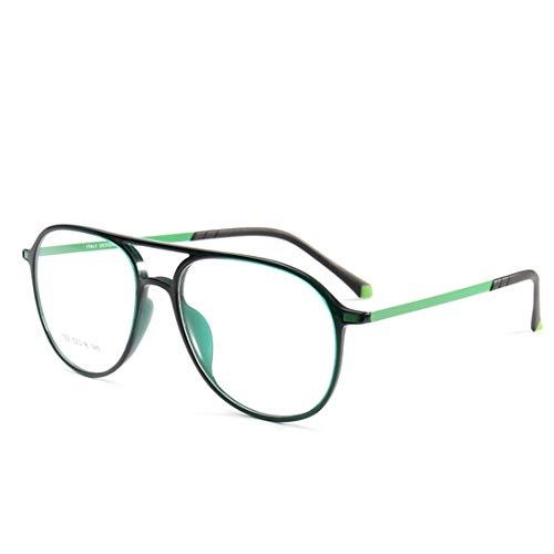 Jakiload Doppelte Nasenrücken-Silikon-Fußabdeckungsbrille umrahmt eine Nicht verschreibungspflichtige Brille für Damen und Herren (Color : Green)