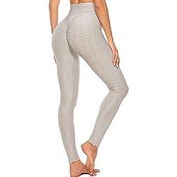 FITTOO Mallas Leggings Mujer Pantalones Deportivos Yoga Alta Cintura Elásticos y Transpirables Gris XL