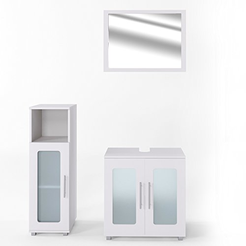 Badmöbel-Set RAYK Weiß -Badspiegel + Waschbeckenunterschrank + Bad Midischrank