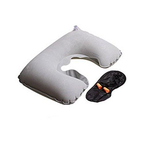 Preisvergleich Produktbild Chytaii Flugreisen Sambo Beflockung Luftkissen + Brille + earplugs aufblasbares Kissen U-förmigen Kissen (Grau)