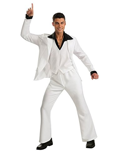 Saturday Night Fever Costume, Mens White Suit, Standard, CHEST 44