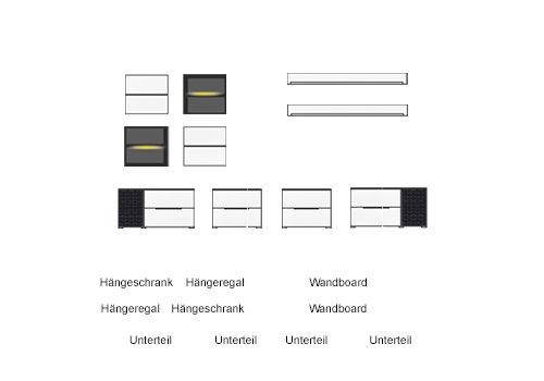 10-tlg Wohnwand in Eiche Nb./grau mit Akustik-Fächern und LED-Beleuchtung, Gesamtmaß B/H/T ca. 330/190/51 cm - 2