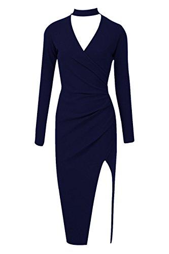 Mesdames Choker Neck Asymmetric Wrap Dress EUR Taille 36-42 Marine