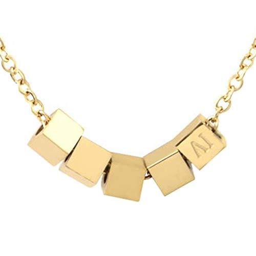 SHJMANJE Halskette Titan Stahl, 18 Karat Goldene Mode Buchstaben Halskette. Korrosionsbeständig, Nicht Leicht Zu Tragen, Nicht Leicht Zu Färben. Mitgelieferte Geschenkbox, Gold