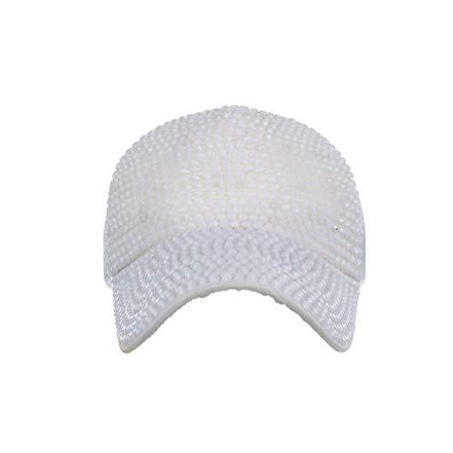 CANDLLY Hut Damen, Kappen Kopfbedeckung Zubehör Männer Frauen Baseballmützen Mode Einstellbare Baumwollkappe Stern Strass Caps Deckel Kopfschmuck Mütze(Weiß,One size)