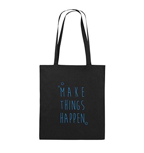 Jutebeutel Schwarz Schwarz lange Pink THINGS Bags Henkel MAKE Blau Comedy Farbe 38x42cm HAPPEN n4zInx